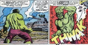 The Incredible Hulk pursued relentlessly by the US Army as he punches a tank shell and screams about being left alone