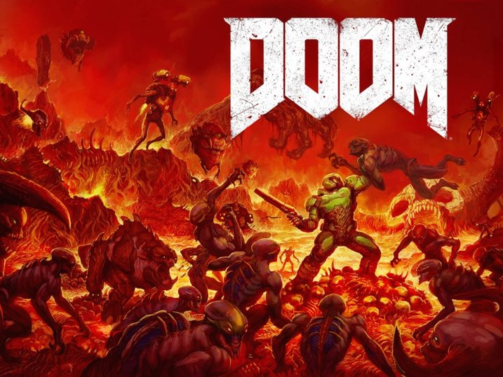 DOOM's space marine protagonist fighting off an endless wave of demons