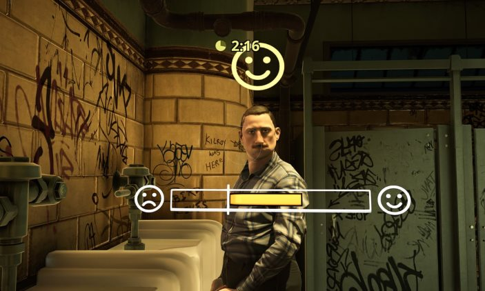 In-game screenshot from the player's first person perspective of eye contact with another urinal user