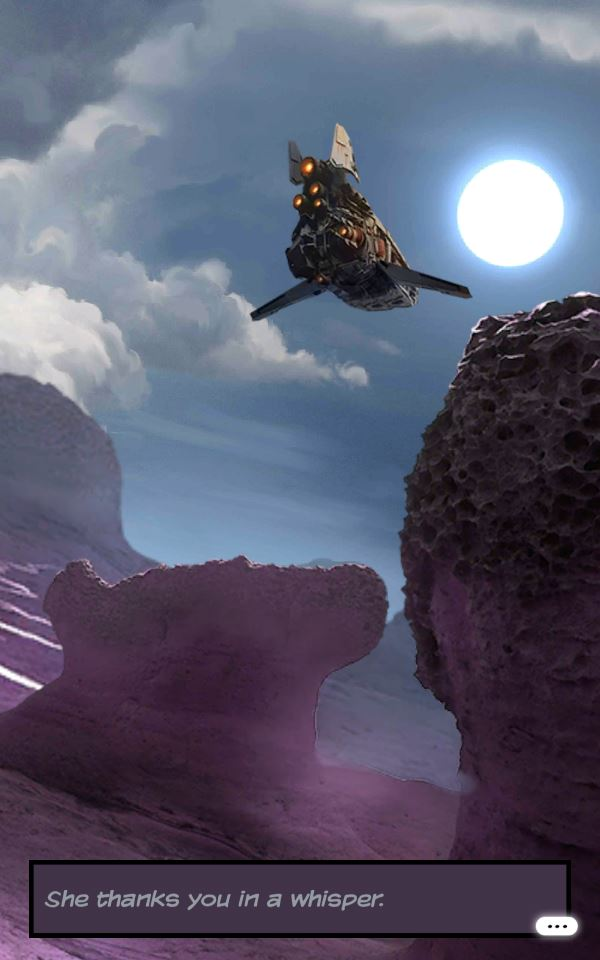 A spaceship flits through the alien sky over a purple desert landscape as a yellow sun illuminates the scene