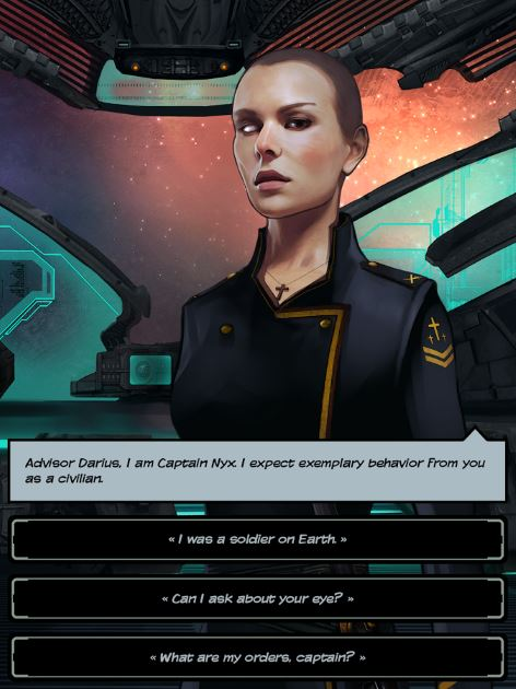 Screenshot of the female spaceship captain Nyx and the dialogue responses available to the player