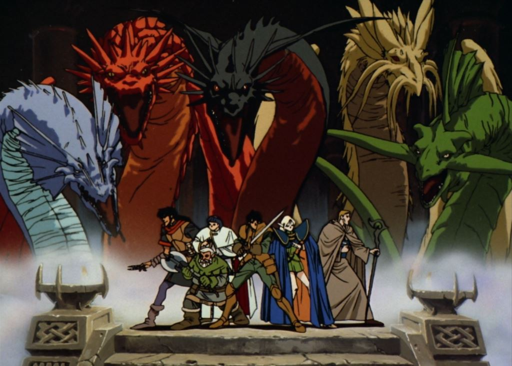 Still from the opening of Record of Lodoss War where the party of balanced RPG cliches are surrounded by several dragons looming overhead