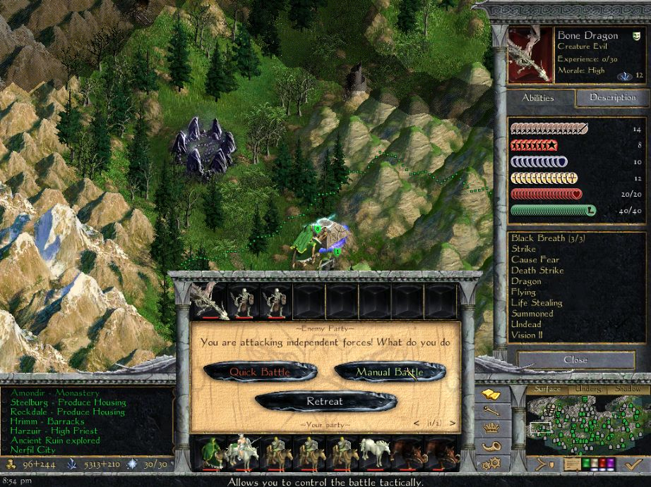 Screenshot from Age of Wonders: Shadow Magic showing the game options available for a player controlling an elven army attacking undead foes