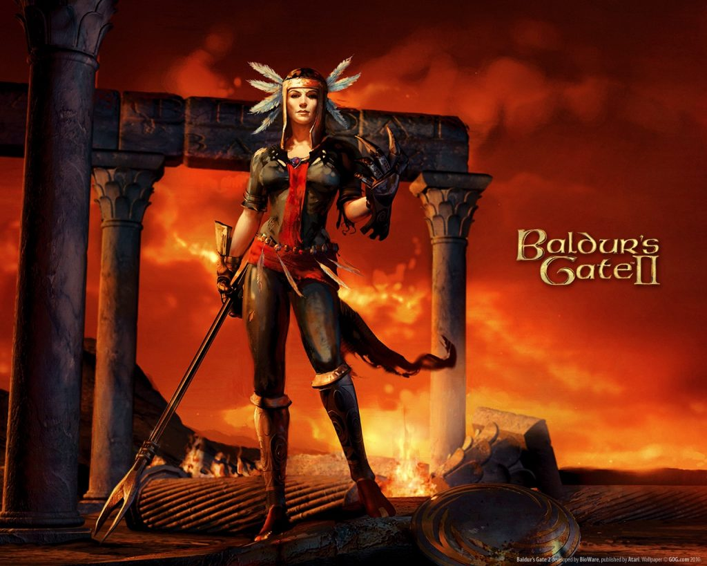 Baldur's Gate wallpaper featuring Amelyssan revealed in her full power.