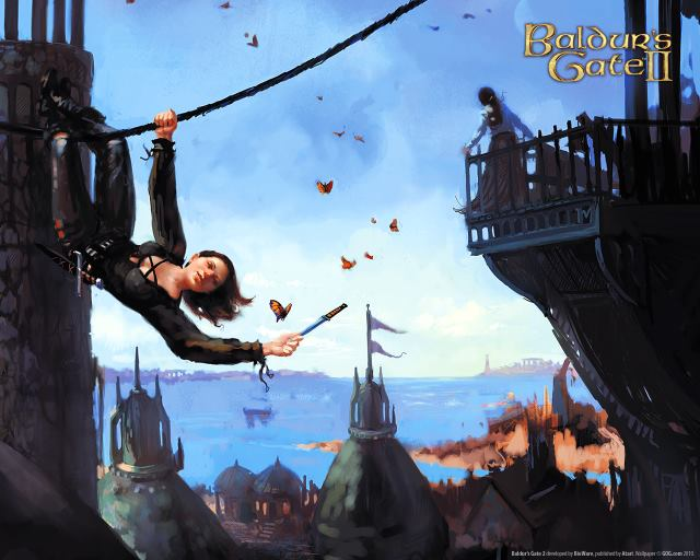Above a port city of soaring spires hangs a female rogue on a rope spanning the blue sky and aims a throwing knife offscreen while in the background a woman on a balcony looks out at the sea.