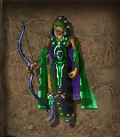 In-game paper doll representation of Jarnosaxa in the Robe of Vecna and wielding the Mana Bow