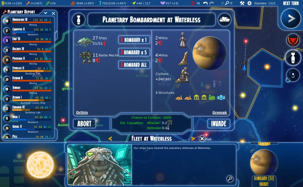 Screenshot of Stars in Shadow showing options available to the player for planetary bombardment and invasion.